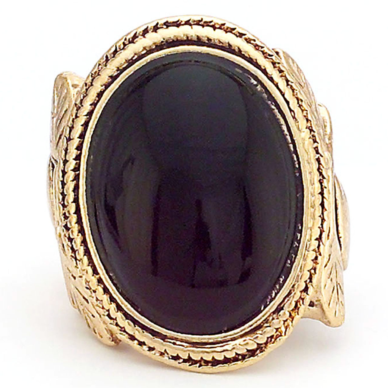 Celebrity Style Gold Ring with Oval Black Center Stone